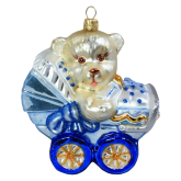 Ёлочная игрушка из Польши Плюшевый мишка в детской коляске 2
