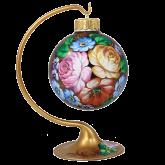 Ёлочный шар ручной работы на подставке Цветы
