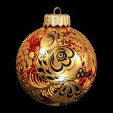 Ёлочный шар ручной работы Хохлома.Птица с рябиной