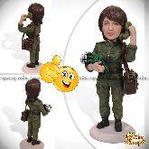 """Кукла шарж девушке """"Военный связист"""" 20см."""