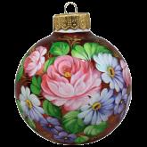 Ёлочный шар ручной работы Розы с незабудками