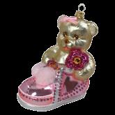 Ёлочная игрушка из Польши Плюшевый мишка в розовом башмаке