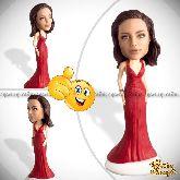 """Кукла шарж подруге по фото """"Вечернее красное платье"""""""