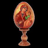 Пасхальное яйцо деревянное с ручной росписью Иверская Божья Матерь