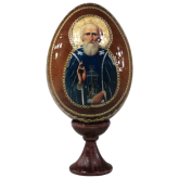 Пасхальное яйцо деревянное с наклейкой Сергий Радонежский