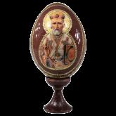Пасхальное яйцо деревянное с наклейкой Николай Чудотворец