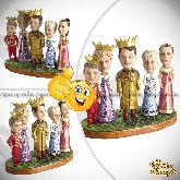 Кукла шарж семье «Царевичи-королевичи»