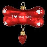 Ёлочная игрушка из Польши Собачья кость с сердцем 2