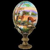 Пасхальное яйцо страусиное Олени