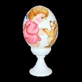 Пасхальное яйцо куриное на подставке Ангел с щенком