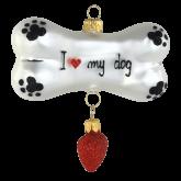 Ёлочная игрушка из Польши Собачья кость с сердцем