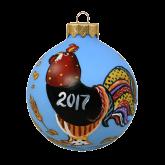 Ёлочный шар ручной работы 80 мм Петушок-2017