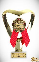 Кубок подарочный Сердце (красный) Учителю инд. гравировка