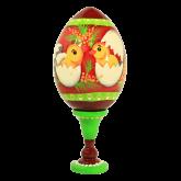 Пасхальное яйцо деревянное с ручной росписью Цыплята в скорлупе
