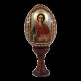Пасхальное яйцо деревянное с наклейкой Святой Пантелеймон-целитель