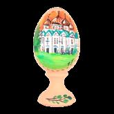 Пасхальное яйцо деревянное с ручной росписью Храм 1