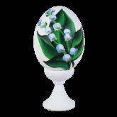 Пасхальное яйцо куриное на подставке Ландыши