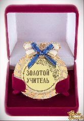 Медаль на цепочке Учителю (стразы, синий бант)
