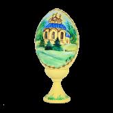 Пасхальное яйцо деревянное с ручной росписью Собор