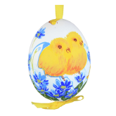 Пасхальное яйцо куриное на ленте Цыплята с синими цветами