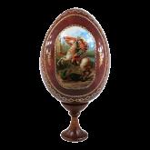 Пасхальное яйцо деревянное с наклейкой  Георгий Победоносец