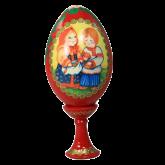 Пасхальное яйцо деревянное с ручной росписью С Пасхой!, высота 8,5см