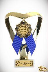 Кубок подарочный Сердце (синий) Учителю инд. гравировка