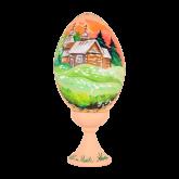 Пасхальное яйцо деревянное с ручной росписью Церковь