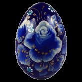Пасхальное яйцо деревянное с ручной росписью Роза синяя