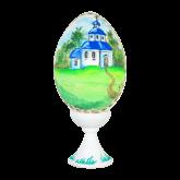 Пасхальное яйцо деревянное с ручной росписью Церквушка