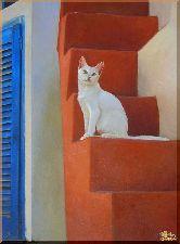 Белая кошка, картина, Модерн животный мир №12