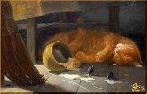 Спящий кот, картина, Модерн животный мир №15