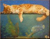 Кот и рыбка, картина, Модерн животный мир №18