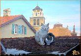 Кошки на крыше, картина, Модерн животный мир №21