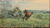 Конь на лугу, картина, Модерн животный мир №25
