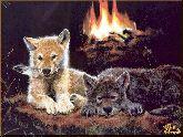 Волчата у костра, картина, Модерн животный мир №34