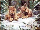 Волчата в снегу, картина, Модерн животный мир №35