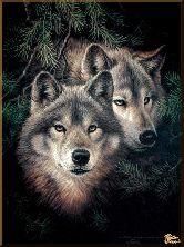 Волки в лесу, картина, Модерн животный мир №41