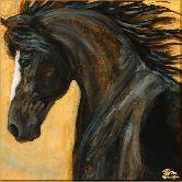 Черный конь, картина, Модерн животный мир №45