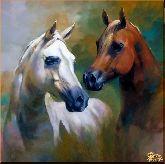Рыжая и белая лошадь, картина, Модерн животный мир №85