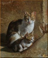 Кошка с котенком, картина, Модерн животный мир №8