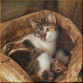 Кошка с котятами, картина, Модерн животный мир №9