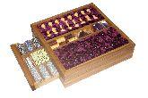 Большой игровой набор из дуба: шахматы, шашки, нарды, домино, карты, кости, покерные фишки