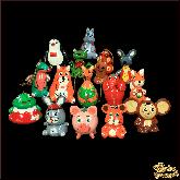 """Набор деревянных ёлочных игрушек """"Зверюшки"""""""