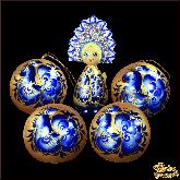 """Набор деревянных елочных шаров с куклой в кокошнике """"Голубая Жар-птица"""""""