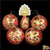 """Набор деревянных елочных шаров с куклой в кокошнике """"Золотая Жар-птица"""""""