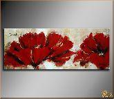 Красные живописные цветы, картина, Модерн цветы №15