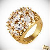 Кольцо с кристаллами Сваровски IR0108G, размер 18,0