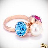 Кольцо с кристаллами Сваровски IR0124G, размер 18,0