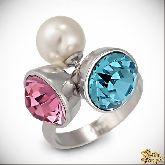 Кольцо с кристаллами Сваровски IR0124R, размер 18,0